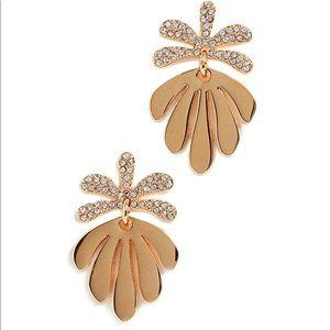 Lele Sadoughi Crystal Vine Drop Gold Earrings
